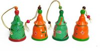Wooden Christmas Bell Orange and Green
