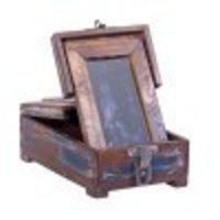 Antique Wooden Mirror Box Vanity Box