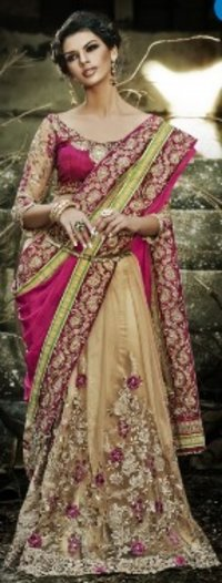 Beige And Pink Color Pure Crepe Jacquard And Net Saree