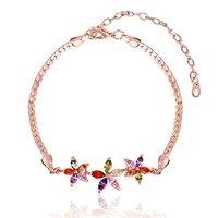 Florets Charms Swiss Cubic Zirconia Gold Plated Designer Bracelet