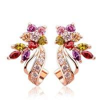 Sparkling Colors Flowerets Vine 18K Gold Plated Hoop Earrings