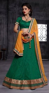 Green Lehenga With Crystals Stones lace