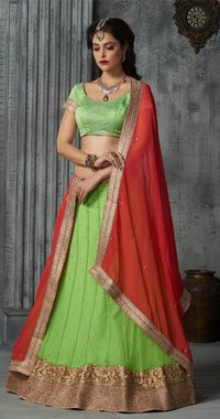 Green Lehenga With Crystals Stones lace resham