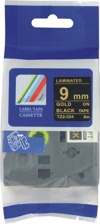Gold on Black Compatible Brother Tze324 label tape for P-Touch Label Maker