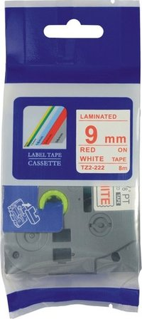 Red on white 9mm TZ tape cartridge P-touch tape