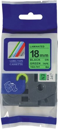 Compatible 18mm black on green labeling tape for Brother TZ-741