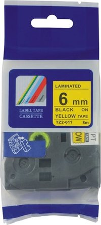 Compatible black on yellow TZ-611 lable printer tape