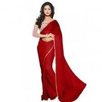 Plain Mehroon Saree