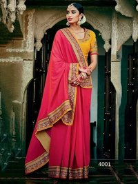 Rani Two Tone Silk Sarees With Orange Banglori Silk Blouse
