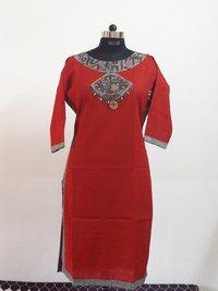 Designer Cotton Linen Handcrafted Kurtis