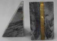Grey Marble And Brass Book Ends