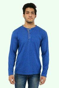 Pure Cotton Henley Blue T Shirts