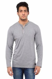 Pure Cotton Henley Grey T Shirts