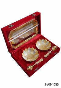 Silver Plated And Gold Plated Kamal Bowl Set