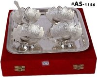 Silver Plated And Gold Plated Kamal Bowl Set Of 9Pc