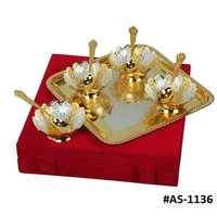 Silver Plated And Gold Plated Kamal Bowl Gift Set