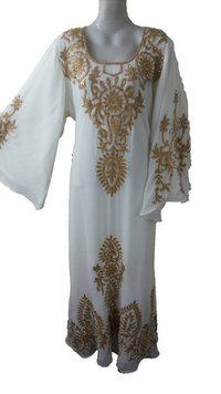 White Wedding Wear Thread Work Farasha Ladies Kaftan