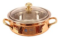 Steel Copper Handi Bowl With Glass Lid 500 Ml
