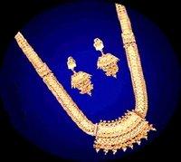 Designer Gold Long Necklace Set