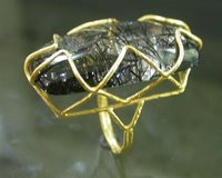 BLACK RUTILE STUDDED GOLD RINGS