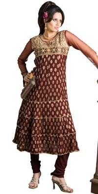 Maroon Color Crushed 3-Tier Anarkhali Salwar Suit