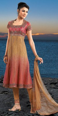 Beige And Pink Color Shaded Anarkhali Salwar Suit