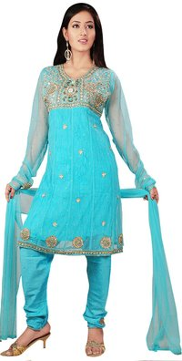 Blue Color Net Anarkhali Style Churidhar Salwar Suit