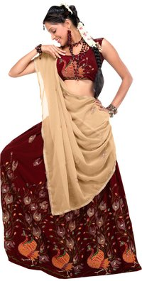 Maroon And Creamish Beige Color Pavada Davani (Half Saree)