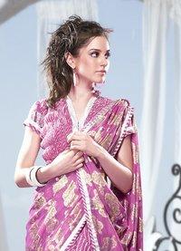 Pink Color Printed Sarees