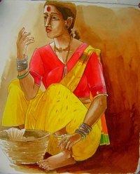 Village Lady Painting