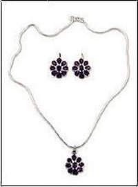 Sterling Silver Amethyst Necklace Set