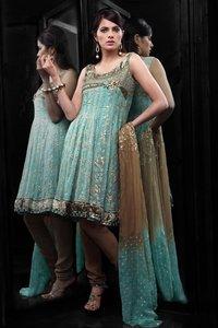 Flair Cut-chiffon With Foil Print Sleeves Salwar Suit