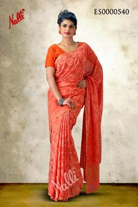 Orange Coloured Georgette Silk Saree