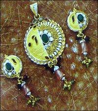 Ethnic Gold Ladies Pendant Set