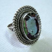 Silver Ring Studded With Mystic Quartz Stone
