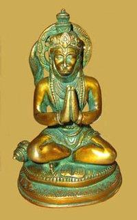Hanuman Sitting On Oval Base W/Tail Up