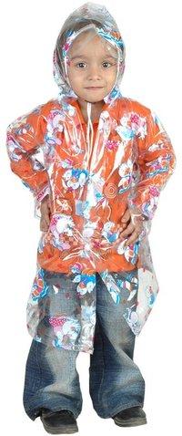 Clear Printed Mini Girls Raincoat