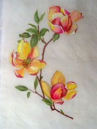 Flower Painted Silk Fabric