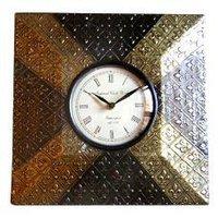 Square Shaped Metal Finish Clock