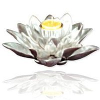 Lotus Shaped Silver Plated Candle Stand