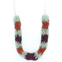 White Maroon Beads