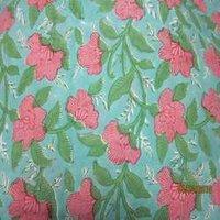 Pink Floral Blue Colour Rapait Print Fabrics