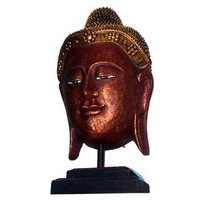 Hand Carved Wooden Buddha Face With Stand