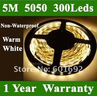 Hot 5050 SMD 5M 300 LED Warm White Flexible Light Strip Car