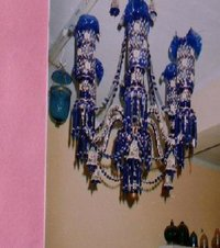 Mughal Style Coloured Cut Glass Chandeliers