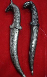 Antique Vintage Small Dagger With Horse Face And Sheep Face Handle