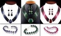 Precious Gemstones Chokers Set (Ruby, Emerald And Sapphires)