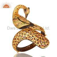 Peacock Design Gold Plated Sterling Silver CZ Openable Bangle
