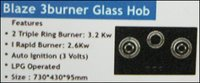 Blaze Three Burner Glass Hob