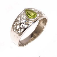 Silver Peridot Gemstone Ring (925 Sterling)